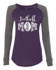 Football Mom Ladies Preppy Patch Slub Long Sleeve T-Shirt