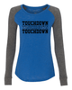 Football Touchdown Ladies Preppy Patch Slub Long Sleeve T-Shirt