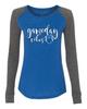Gameday Vibes Football Ladies Preppy Patch Slub Long Sleeve T-Shirt