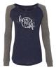 Livin' that Volleyball Life Ladies Preppy Patch Slub Long Sleeve T-Shirt