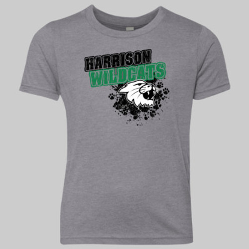 Harrison Wildcats Pawprints 2019 YOUTH Vintage Gray