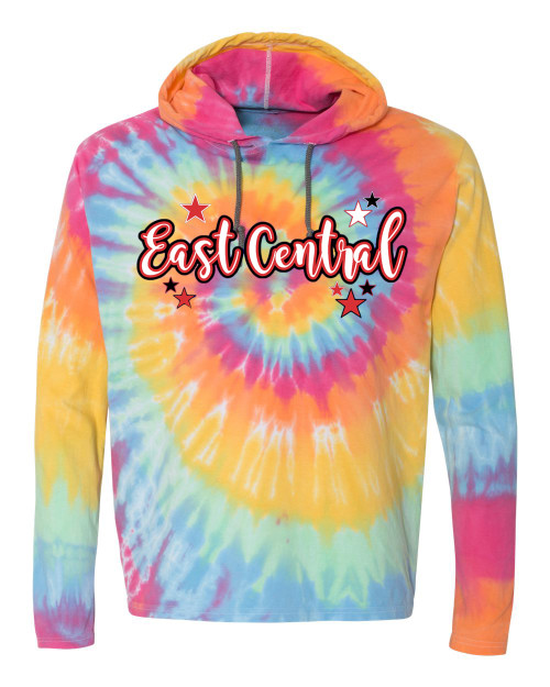 East Central Youth Spiral Tie Dye Hoodie Script Logo