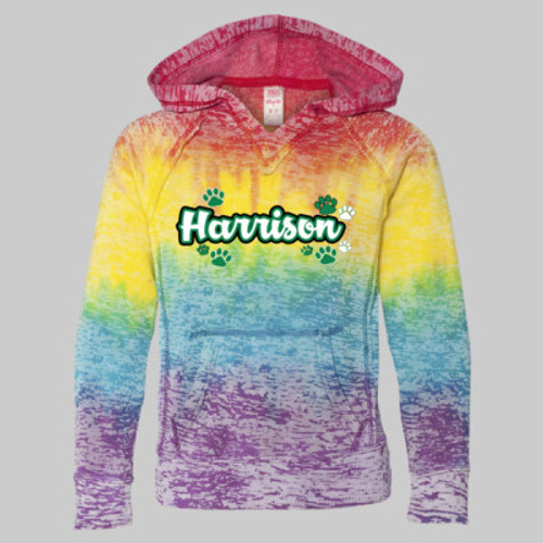 Harrison GIRLS V Notch Stripe Tie Dye Hoodie