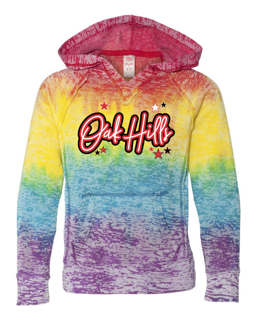 Oak Hills YOUTH GIRLS V Notch Stripe Tie Dye Hoodie