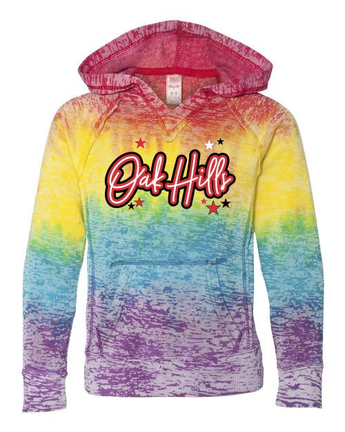 Oak Hills YOUTH GIRLS V Notch Stripe Tie Dye Hoodie