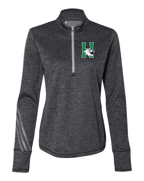 Harrison Ladies Adidas Brushed Terry Heathered Quarter-Zip Pullover