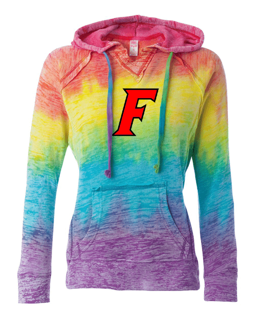 Fairfield Ladies V Notch Stripe Tie Dye Hoodie