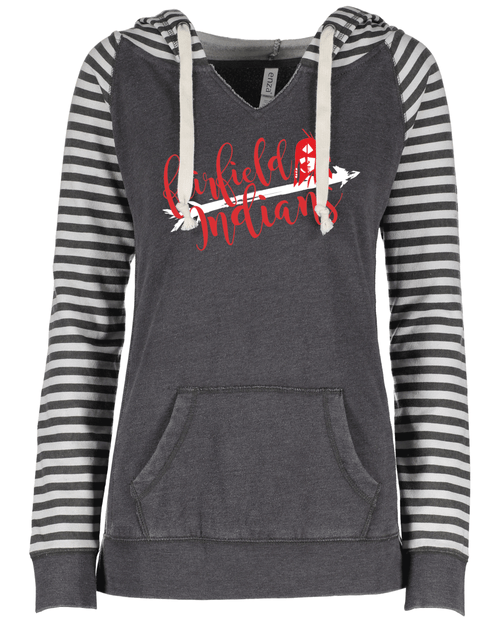 Fairfield Ladies Striped Sleeve Hoodie