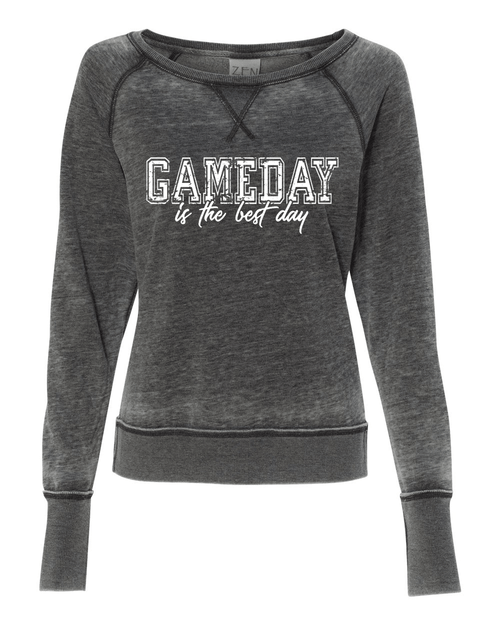Gameday is best Ladies Acid wash Crew Sweatshirt