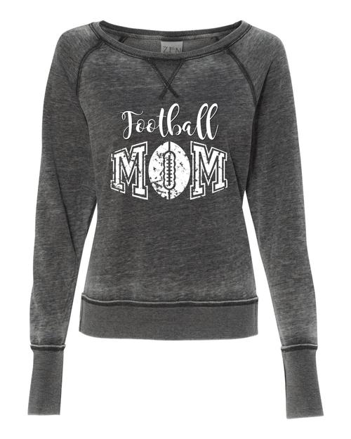 Football Mom Ladies Acid wash Crew Sweatshirt