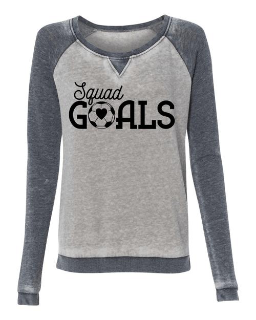 Squad Goals Soccer Ladies Acid wash Crew Sweatshirt