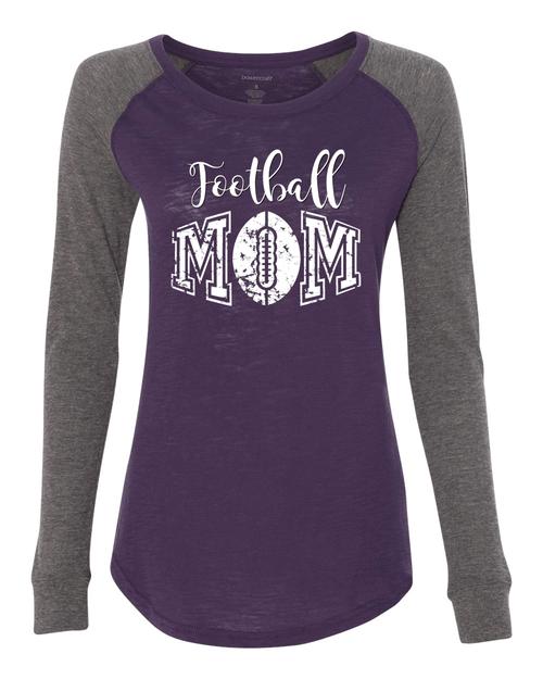 Football Mom Ladies Preppy Patch Slub Long Sleeve T-Shirt
