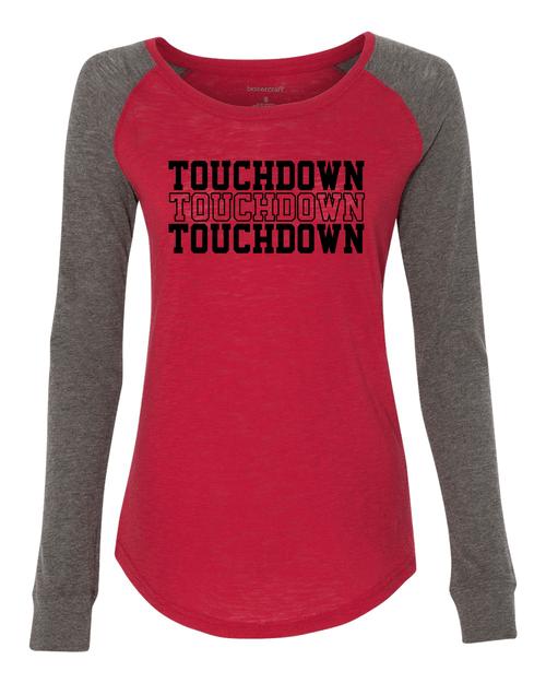 Football Touchdown Ladies Preppy Patch Slub Long Sleeve T-Shirt