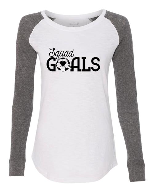 Squad Goals Soccer Ladies Preppy Patch Slub Long Sleeve T-Shirt