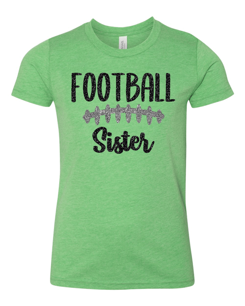 Harrison Youth Glitter Football Sister Tee