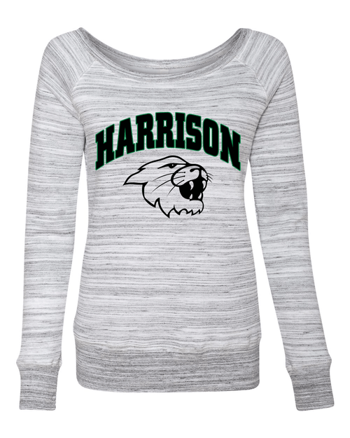 Harrison Ladies Marble White Wide Crew Neck Sweatshirt