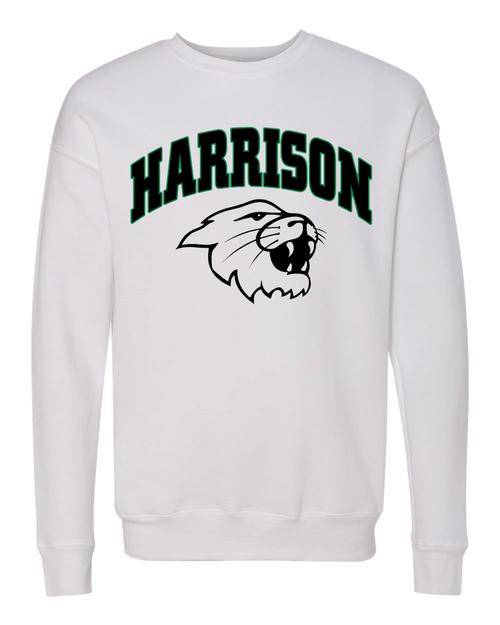 Harrison Unisex Drop Shoulder White Crew Sweatshirt