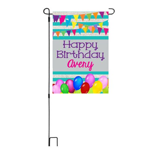 Happy Birthday Aqua Garden Flag