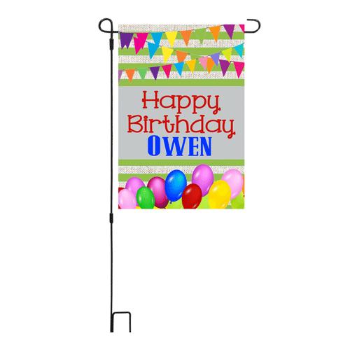 Happy Birthday Blue Garden Flag