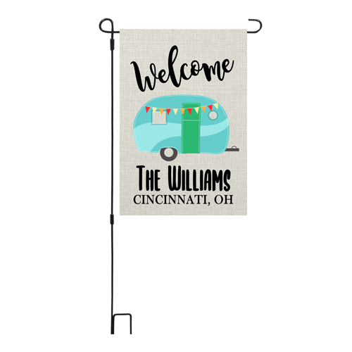 Welcome Camper Personalized Garden Flag