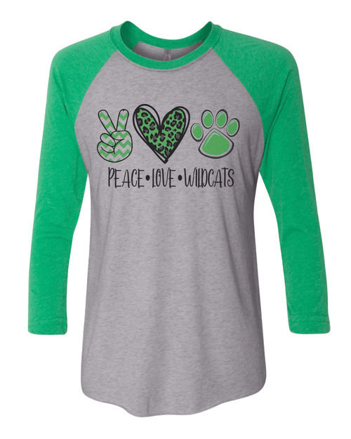 Peace Love Wildcats Raglan 3/4 Sleeve Tee