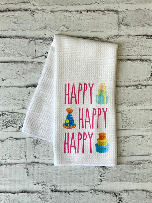 Nora Fleming Inspired Happy Birthday Kitchen Towel