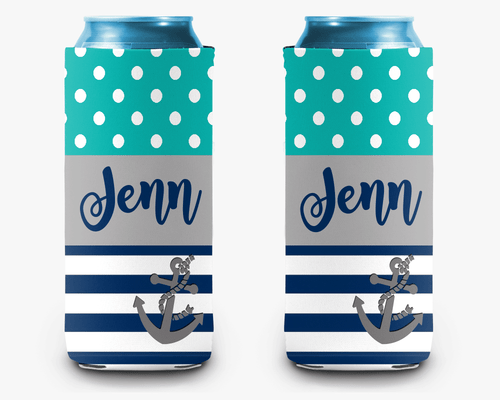 Stripe Anchor Personalized Can Cooler Koozie