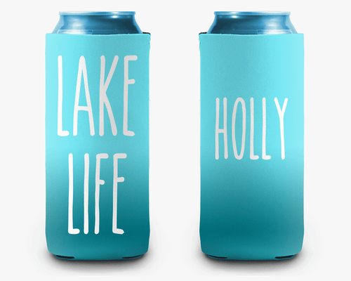 Lake Life Ombre Personalized Can Cooler Koozie