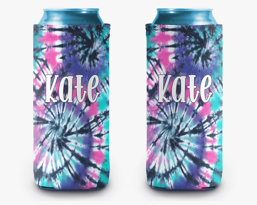 Tie Dye Neon Personalized Can Cooler Koozie