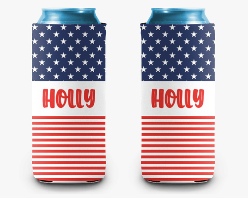 USA Flag Personalized Can Cooler Koozie