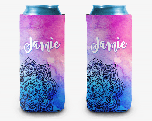 Mandala Galaxy Personalized Can Cooler Koozie
