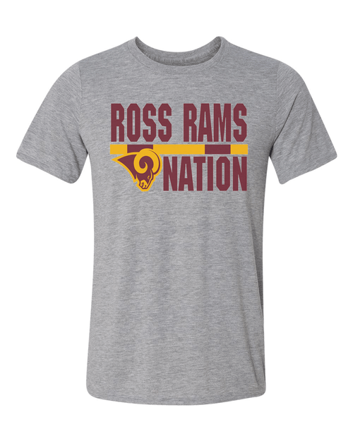Ross Rams Nation Youth Sport Gray Performance Tee