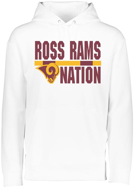 Ross Rams Nation White Drifit Hoodie