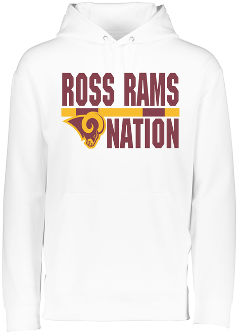 Ross Rams Nation Youth White Drifit Hoodie