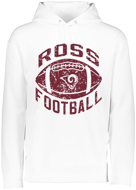 Ross Football Youth White Drifit Hoodie