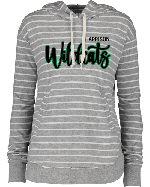 Harrison Ladies Lightweight Gray Striped Hoodie