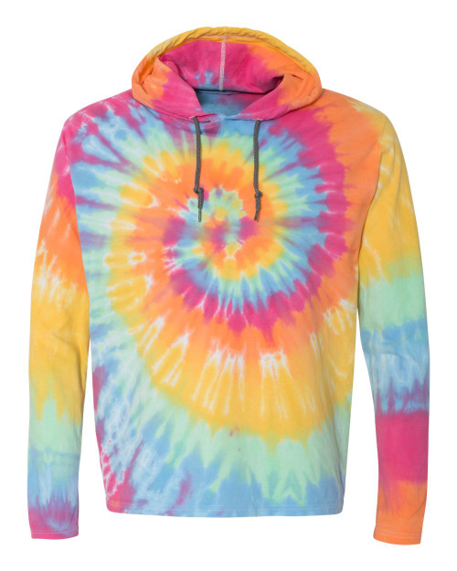 SALE Tie Dye Hooded Long Sleeve Tee- Choose your school logo!