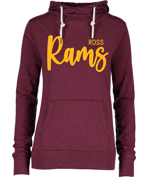 SALE Ross Ladies Long Sleeve Funnel Neck Maroon Hooded Tee