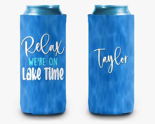 Relax You're on Lake Time Personalized Can Cooler Koozie