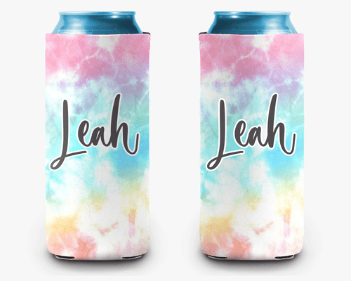 Pastel Wave Tie Dye Personalized Can Cooler Koozie