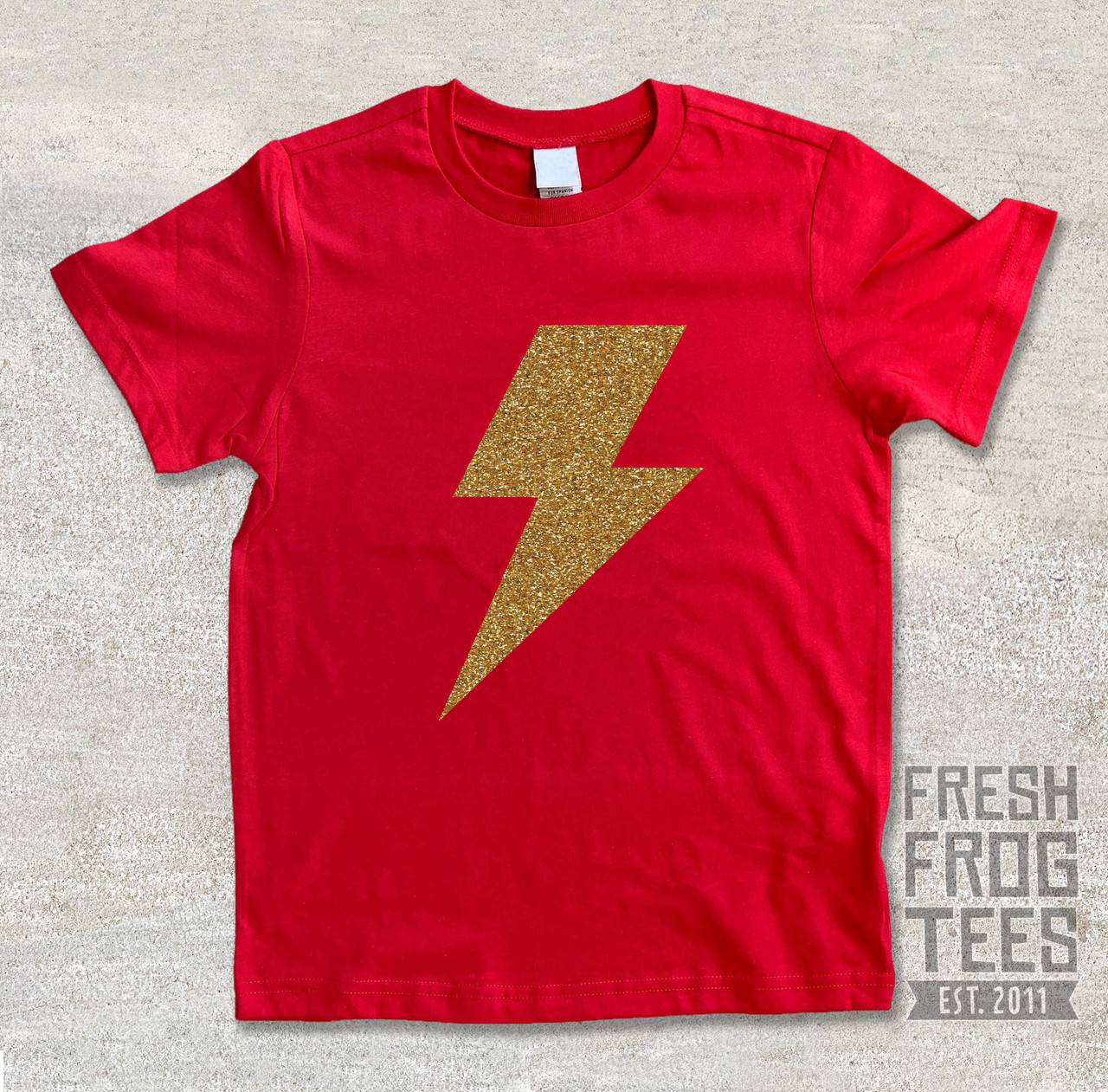 Glitter gold Lightning bolt super hero shirt for boys or girls black shirt