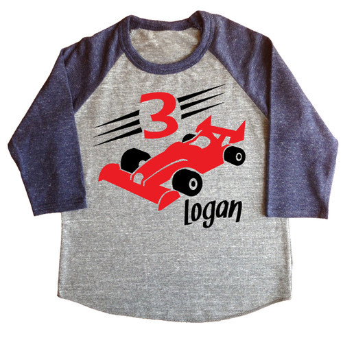 Custom race car raglan shirt on heather navy