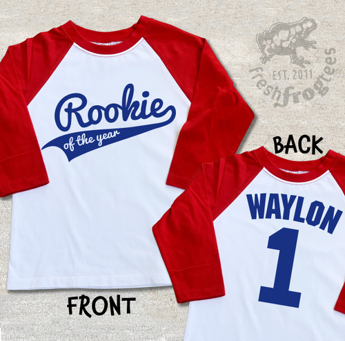 First Birthday Shirt Personalized Rookie of the Year raglan