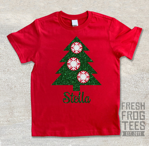 Personalized Christmas tree with snowflakes on red shirt