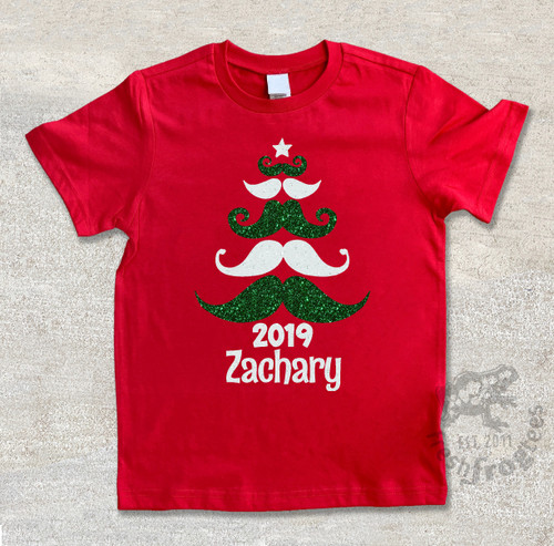Mustache Christmas personalized holiday tshirt on red tee
