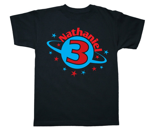 Space theme personalized birthday party shirt
