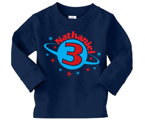 Long Sleeve Space theme personalized birthday party shirt
