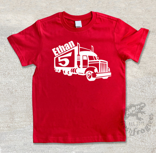 Personalized semi-truck birthday shirt on red shirt