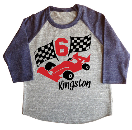Race car personalized birthday shirt raglan