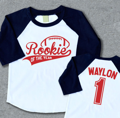rookie of the year first birthday shirt raglan football